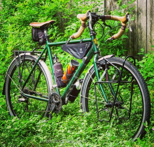 Picture of touring bike with frame pack for bicycle touring