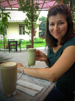 Picture of Cynthia of World by Wheel enjoying coffee in Thailand