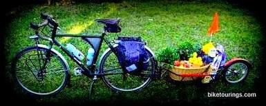 Picture of touring bike with bike trailer full of organic produce and food