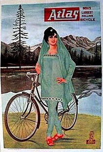 Picture of old fashioned Atlas bike touring ad