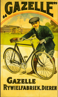 Picture of old fashioned bike touring ad