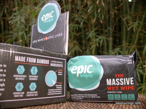 Picture of epic wet wipe towels for bicycle touring, bike packing and camping.