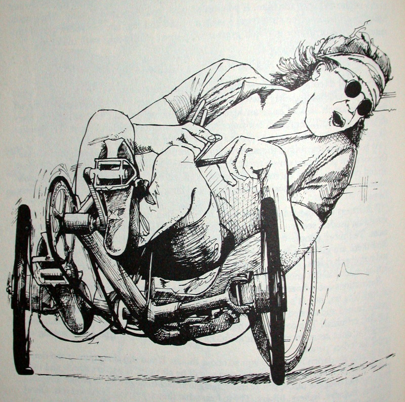 Picture of pencil drawing of recumbent bike rider